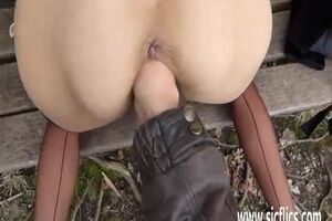 Lewd crank guy is going knuckle deep his whorish housewife over a public park bench in outdoor mature fetish movie