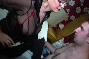 Whorish light-haired old mature woman in a molten dark-hued underwear tempts adorable guy on sex right on the working place, watch mom sex clip